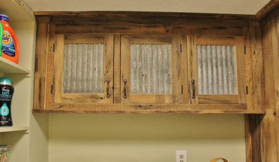 Rustic Upper Cabinet Reclaimed Barn Wood w/Tin Doors