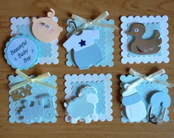 6 Mini Handmade Baby Boy Assembled Card Toppers for card making scrapbooking crafting