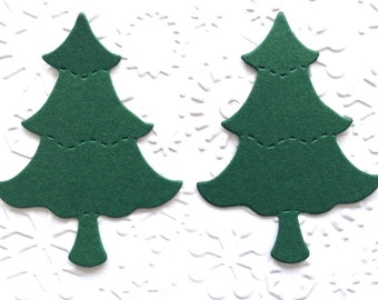 50 Dark Green Christmas Tree Die Cuts for Card Making Scrapbooking Handmade Card Toppers Gift Tags Christmas Craft Project Papercraft