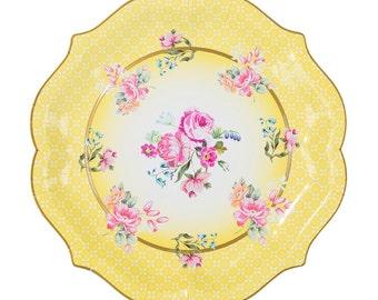 4 big serving charming paper plates