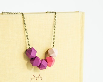 Pale pink and purple color block necklace Simple hexagon wood necklace Light weight jewelry