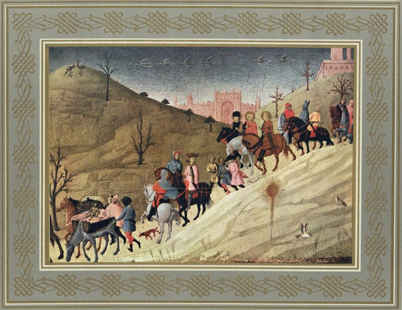 """Large Christian print of Tempera painting by Sassetta in 15th century, """"The Journey of the Magi"""", decorative gilt and grey border, 1950s"""