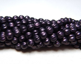 5mm Dark Purple Round Czech Beads, Small Purple Beads, Plum Beads, Purple Beads, Purple Plum Glass Beads, 5mm Melon Round Beads T-032A