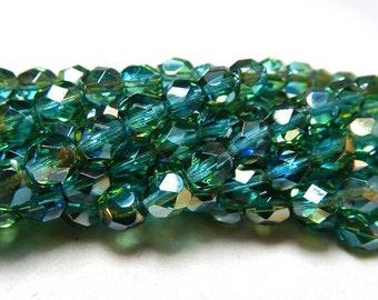 6mm Aquamarine Celsian Czech Beads, Blue Beads, Aquamarine Beads, Celsian Beads, Firepolish Czech 6mm Beads, Faceted Beads T-040B