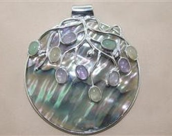 Mother of Pearl and semi precious stone designed large pendant