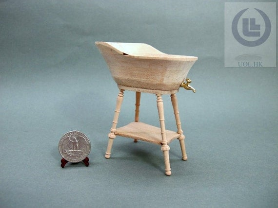 20 off wood carved 1 12 scale miniature baby bathtub for doll. Black Bedroom Furniture Sets. Home Design Ideas