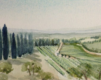 Castello di Brolio, landscape, Gaiole in Chianti, watercolour
