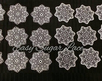 DOILY Cake Lace Edible Sugar Lace - FREE Shipping (Black, Gold, Silver, Pink, Red, Pearl White)