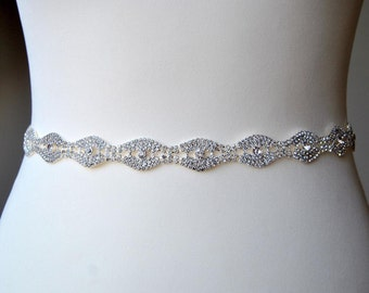 Thin Rhinestone Belt Bridal Sash Bridesmaids Belt Crystal Wedding Sash Belt  dress rhinestone Sash Belt, Wedding dress sash