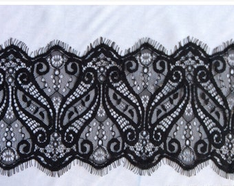Wedding lace,eyelash Lace Trim ,Floral Wave Soft Lace fabric 3 Yards -3082