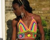 CROCHET BRALET Top 01. UK Seller. Bralette knitted Bikini and festival Top