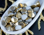 50pcs White Gold Half Pinch Czech Glass Spacer Bicone Faceted Beads 5mm