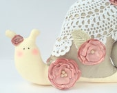 Snail toy, shabby  cottage chic toy. Snail in silk shell, dusty roses decor. Toy and decor for home, lovely gift, collectible toy