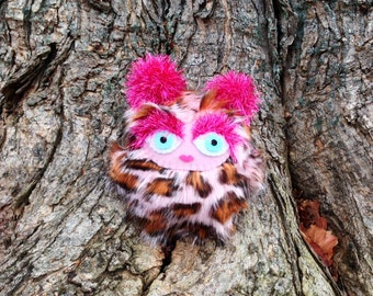 Roar the Troublewump - Juvenile Brumblewump - She is Not a Monster! Pink leopard stuffed animal.  Cute and cuddly children's book character.