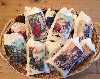 Santa Claus Advent Calendar Christmas Holiday Bags. Set of 25 Christian Vintage 3x5 4x6
