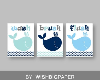 WHALE Wall Art Prints -Set of Three.Instant Download-Boy Bathroom Art Print.Whale Bathroom.Nautical Bath Art.Whale Bath Art-Whale Bath Decor