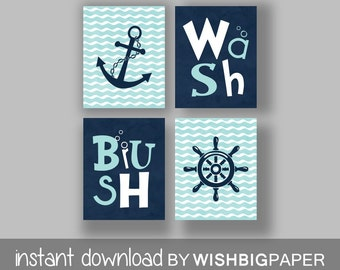 Nautical Bathroom Wall Art Prints Set Of Four (4) Instant Download.