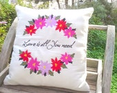 Natural Linen Embroidered Cushion Case Pillow Cover, Poinsettia Flower and Love is All You Need Couote Embroidered