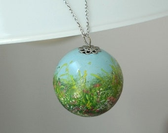 Hand-painted ceramic pendant with meadow