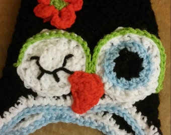 Child owl ear flap hat