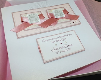 Handmade Boxed Card for Birth of Twin Baby Girls