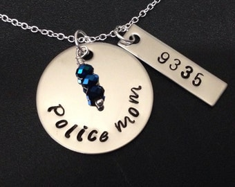 Hand Stamped Jewelry -Police Wife / MOM - hand stamped jewelry-personalized jewelry-sheriff wife-deputy wife-trooper wife - thin blue line