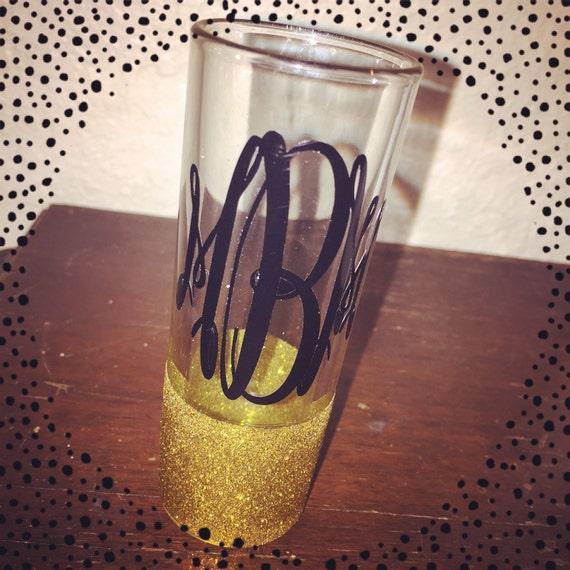 monogrammed glitter shot glass by oliveitgifts on etsy