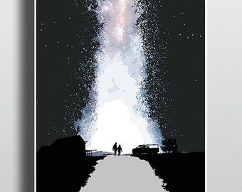 Interstellar movie poster - You Can Include White Wood Frame - wall picture decoration - We can customize your text
