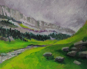Abstract landscape, Ordesa II, Original oil painting, mountain love, abstract painting, modern artwork, green valley, square, Spain, grey