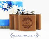 Engraved Leather Flask Personalized with Single Name Great for Groomsmen Best Man 21st Birthday Bridesmaids Father's Day CELTIC Design