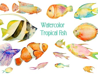 Tropical fish clipart, watercolor tropical fish, sea fish for fishing themed cards, invitation, bathroom decor, fish clip art