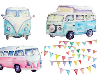 Hand painted watercolor camper vans blue and pink and buntings printable instant download scrapbook watercolor greeting cards