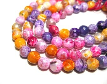 1 Strand Multicolor Fire Agate Beads 6mm Round Faceted Stone Beads