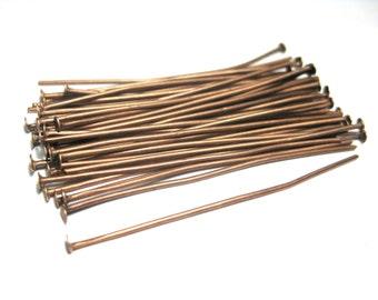 100pcs Antique Copper Head Pins 45mm 21 gauge(No.522)