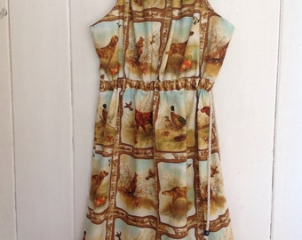 Childrens Girls Summer Hunting Print Dress.Size 5 to 8.