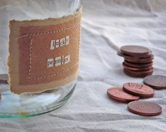 Lucky Pennies Jar with Handmade Recycled Stitched Label - MADE TO ORDER