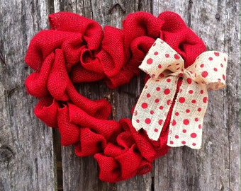 Burlap heart valentines wreath, valentines day wreath, red heart wreath, valentines day decor