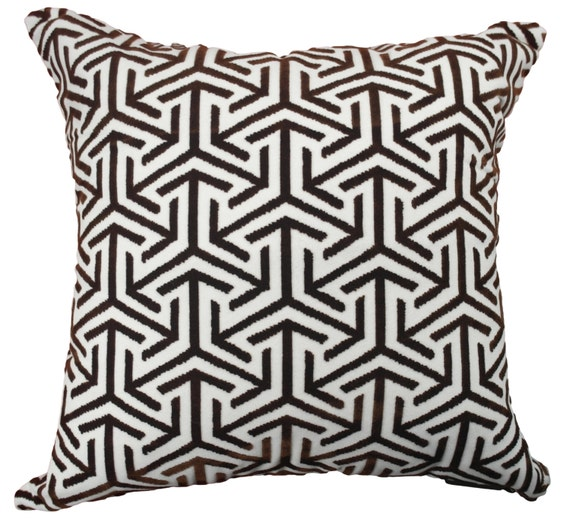 Items similar to White and brown throw pillow,Velour Pillow Cover,Couch pillow,Decorative Pillow ...