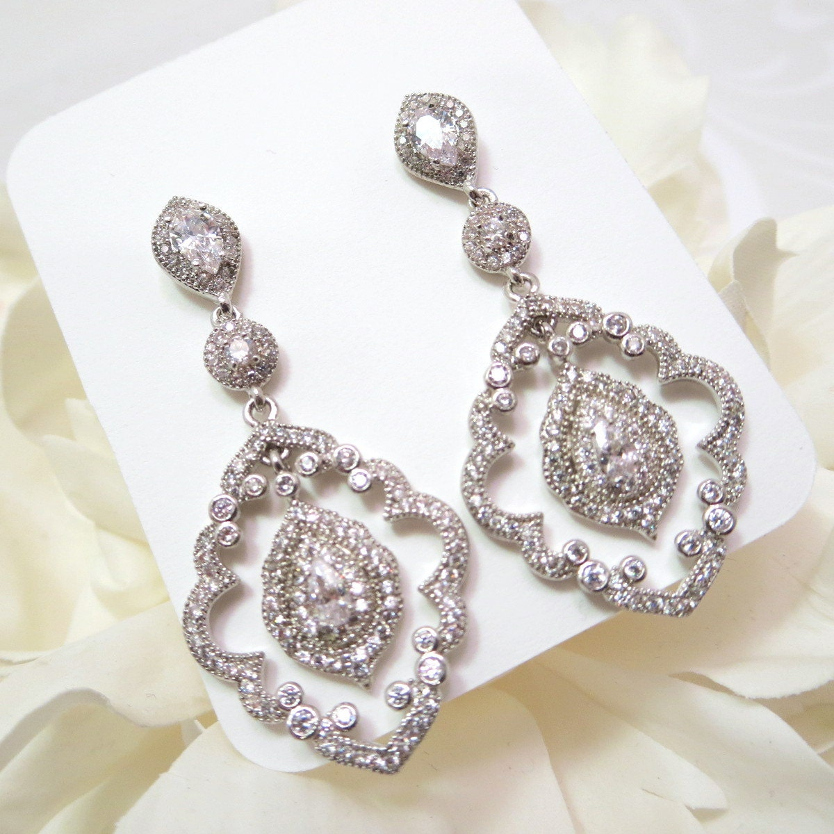 deco chandelier earrings cz bridal earrings chandelier