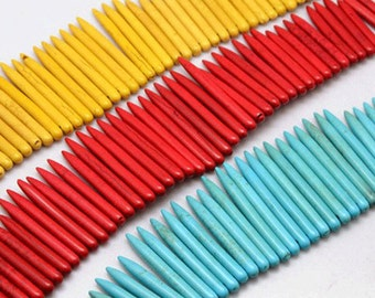 1 Strand Graduated Turquoise Spike Dagger Beads, Choose Your Color