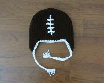 Football Earflap Crochet Beanie
