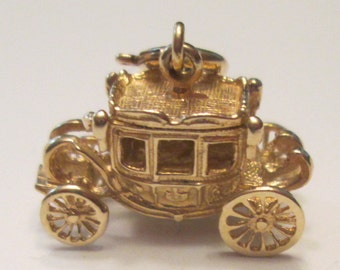 14k Gold 3D carriage charm