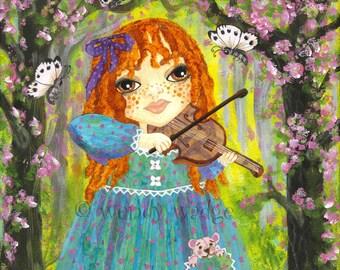 "Violin Girl  Art Print 6"" x 6"" girl's art,bedroom, by wendy wadge"