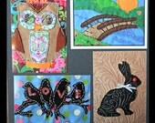 CURIOUS CRITTERS, new paper postcards based on my handmade quilted felt postcards, set of 10 unique images