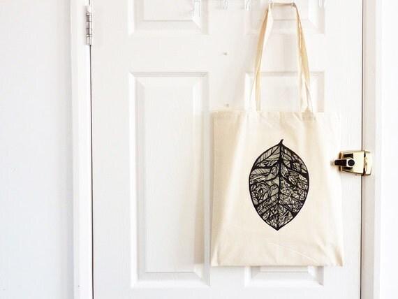 Leaf Tote Bag/ Botanical Drawing/ Leaf Skeleton/ Cotton Bag/