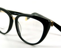 1960's chic style MOD 'Simone' in Black, discreet diamante trim ; top quality designer reading glasses & Rx ready  or made to your own Rx