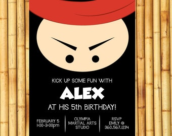 Ninja Birthday Party Invitation- Ninja Birthday Party Invite- Ninja Party Theme- Ninja Party Printables