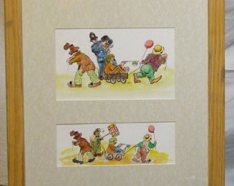 Original watercolourPeter Atkins  English art cartoon Clowning Around humour performing clowns circus global gift framed Freight cost extra