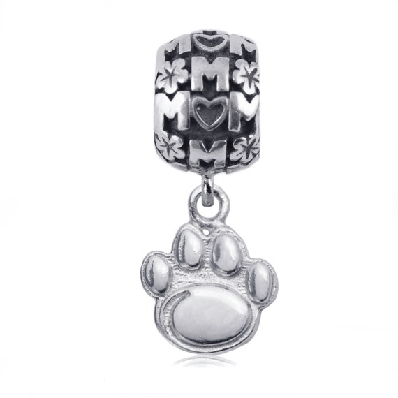 penn state paw sterling silver charm bead penn state