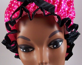 New fashionable double layer Polyester Satin shower cap!#2